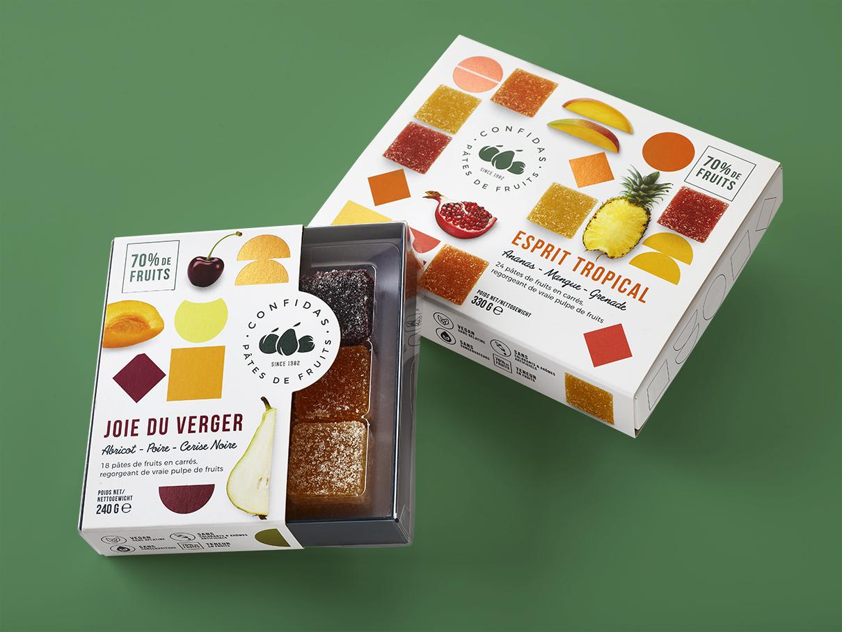 Quatre Mains package design - joie du verger, pralines, fruit, confidas, esprit tropical