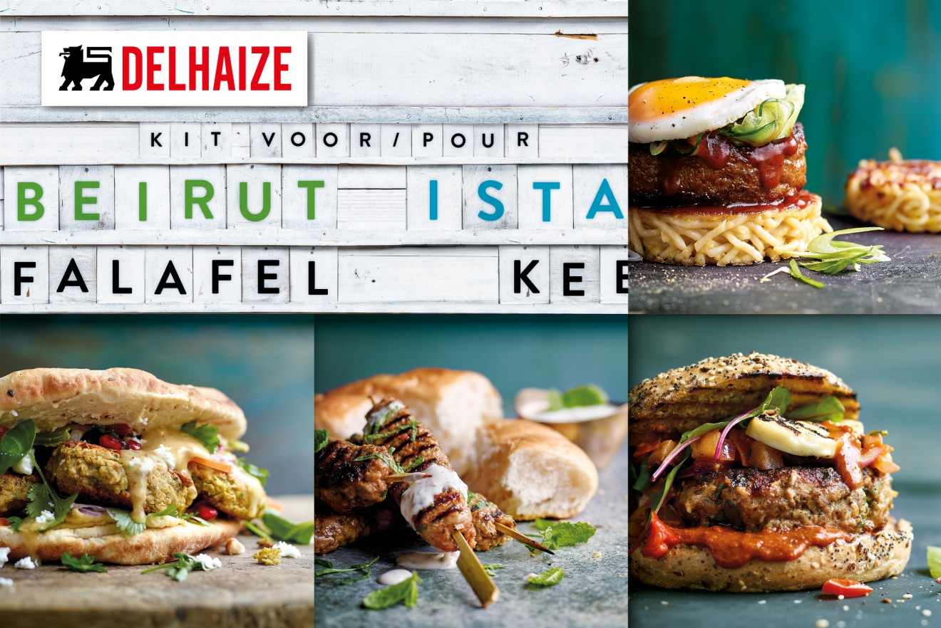 Quatre Mains package design - delhaize, falafel, kefta