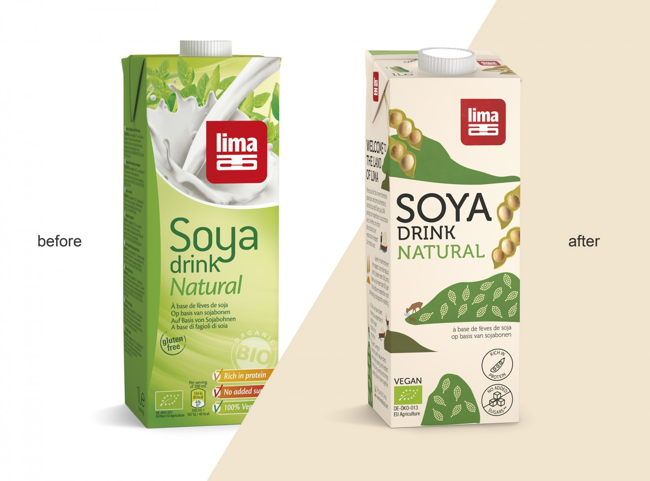 Quatre Mains package design - soya drink, milk, dairy, lima land