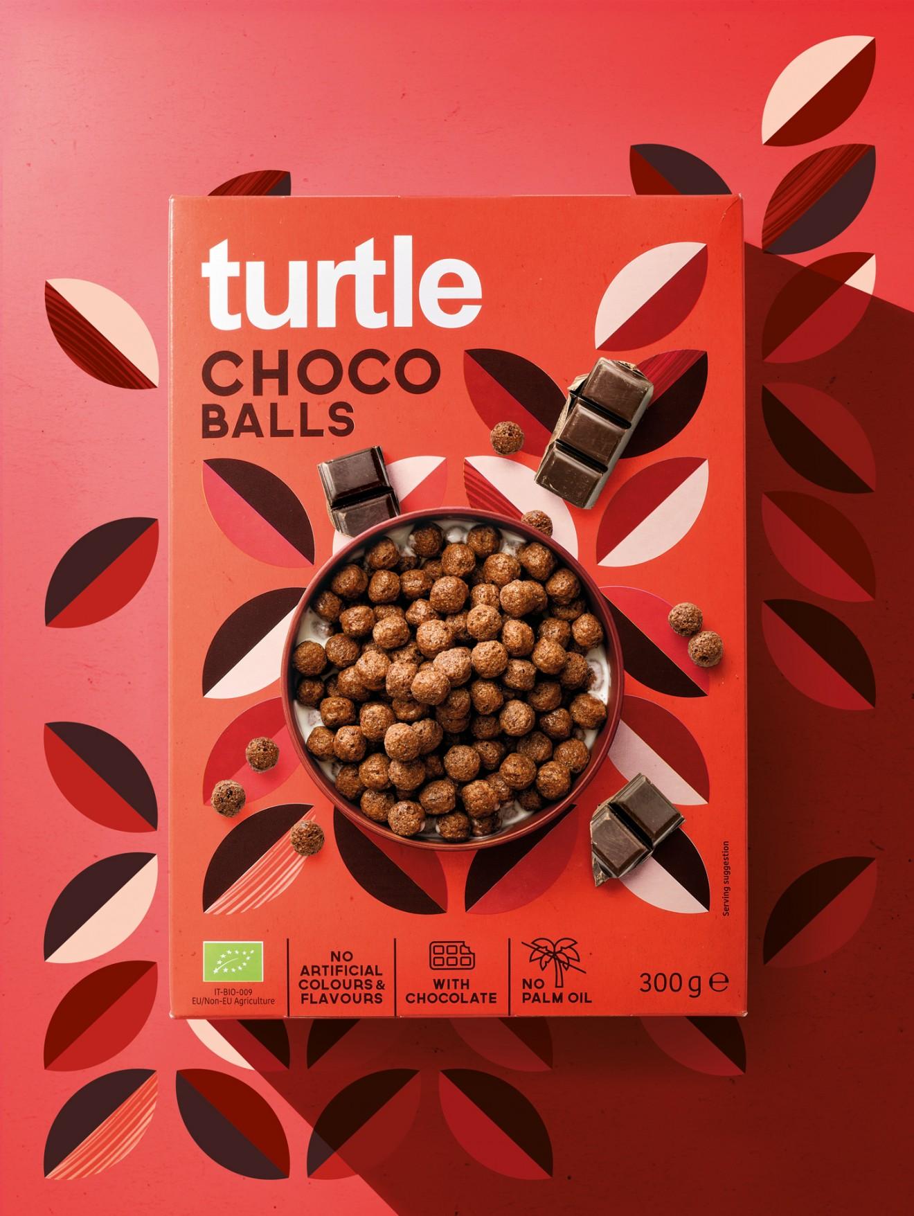 Quatre Mains package design - choco balls, healthy, cereals, retro, vintage, pattern, decorative, quatre mains, turtl