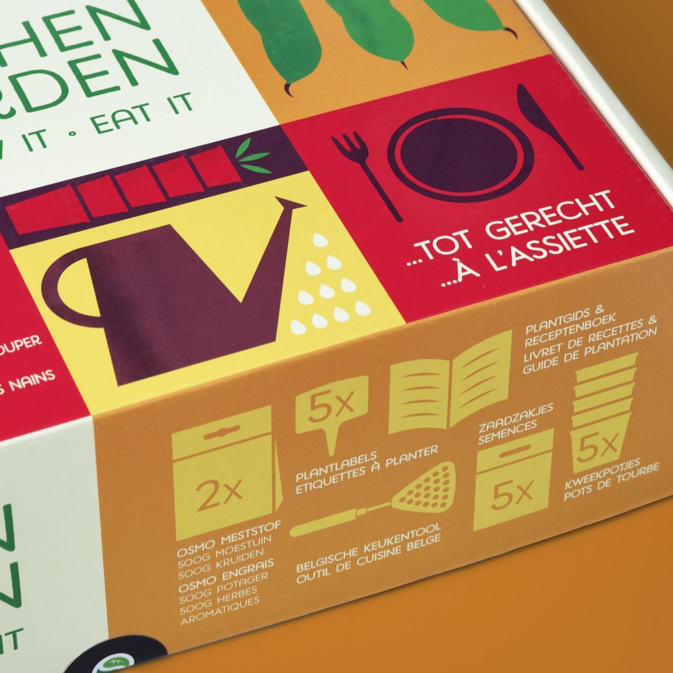 Quatre Mains package design - peas, box, cooking, planting