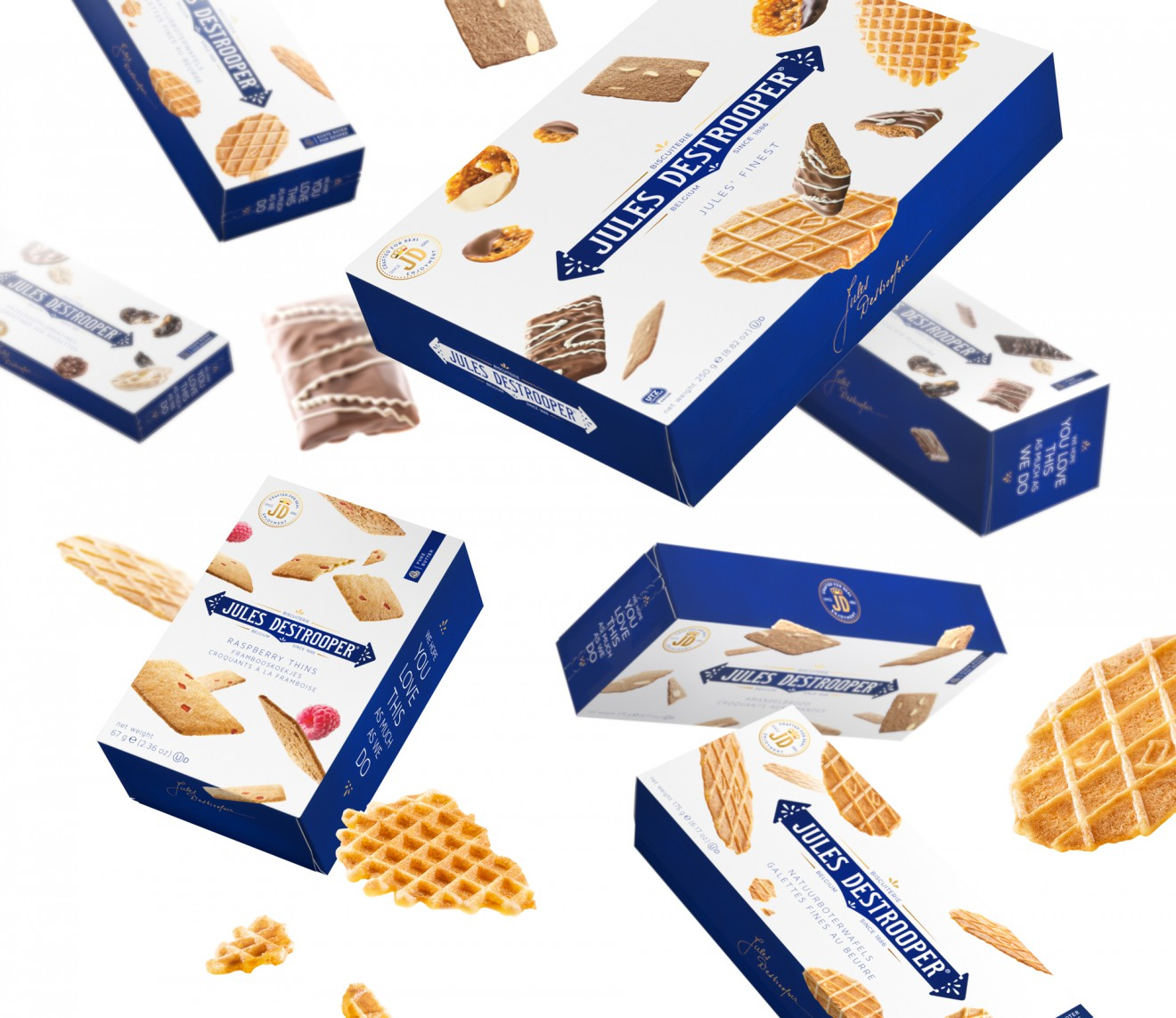 Quatre Mains package design - flying biscuits, biscuiterie, jules, quatre mains