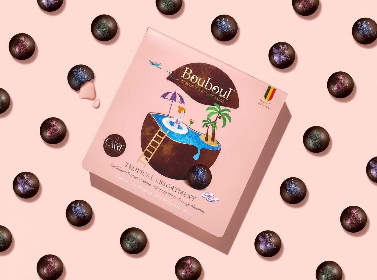 Quatre Mains package design - chocolate carré, tropical, cocktails