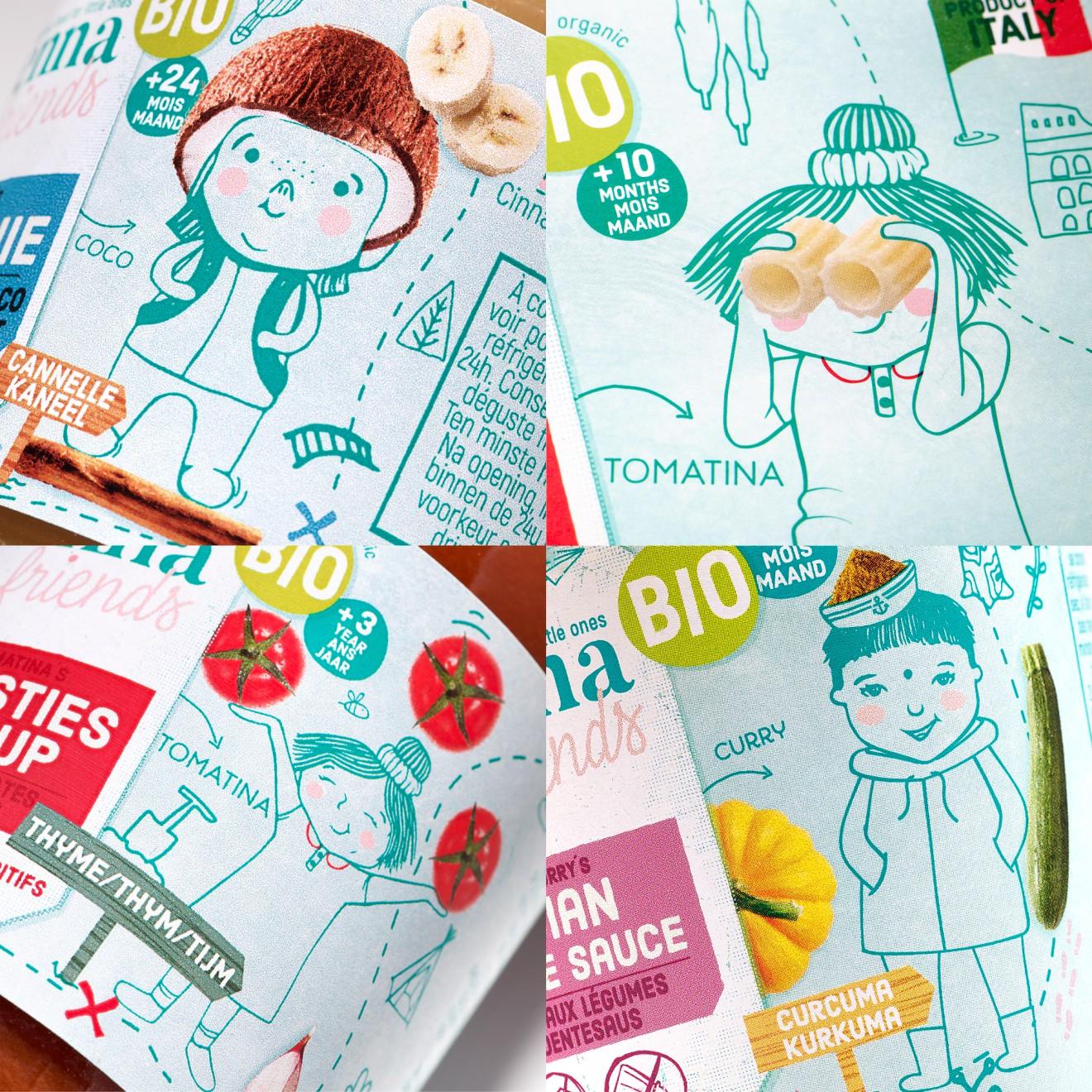 Quatre Mains package design - tomato sauce, pasta, foodies
