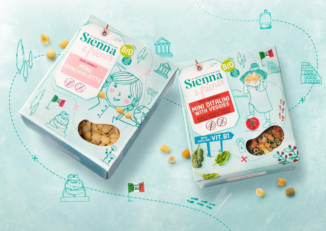 Quatre Mains package design - pasta, sienna, friends, aurélie d'hulst, travelling