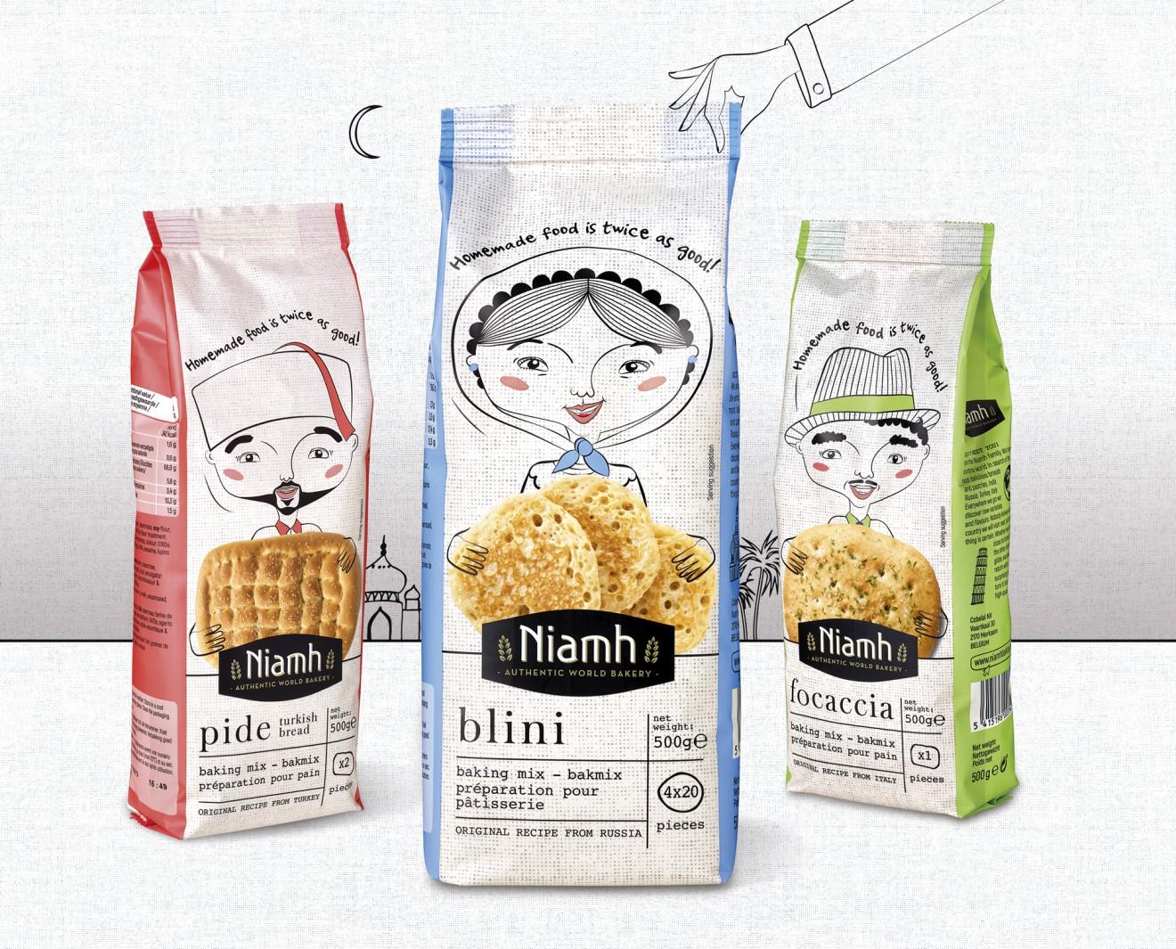 Quatre Mains package design - quatre mains, brood, blini, focaccia, pide