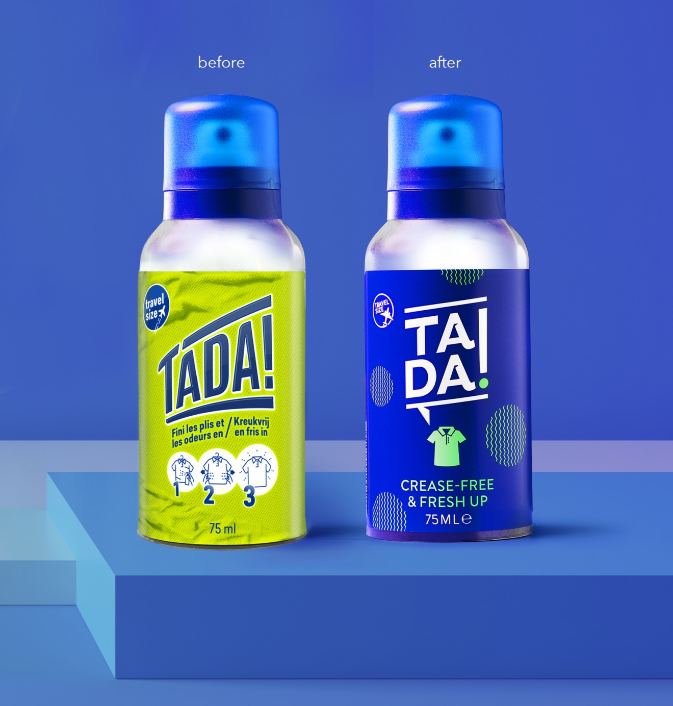 Quatre Mains package design - before, after, tadaa, crease wrinkle free