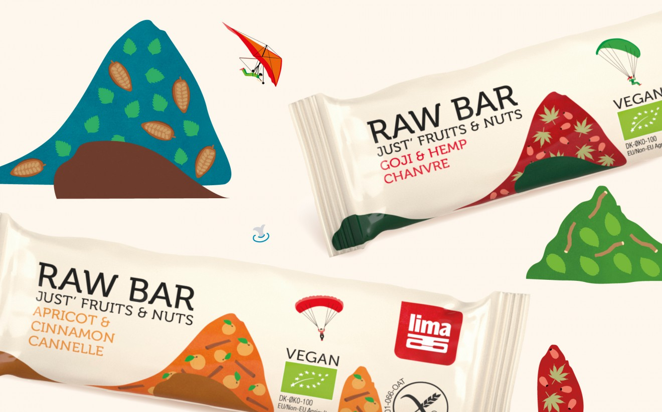 Quatre Mains package design - raw bars, apricot, illustration, drawings