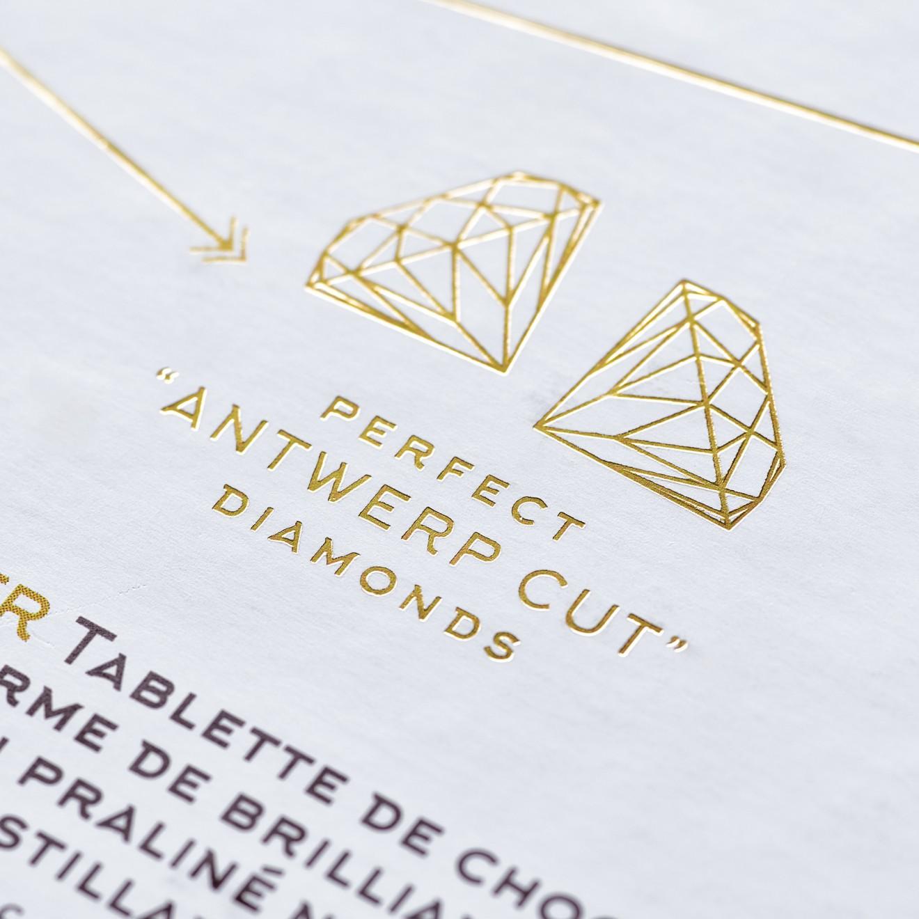 Quatre Mains package design - antwerp, antwerpen, diamond cut, detail