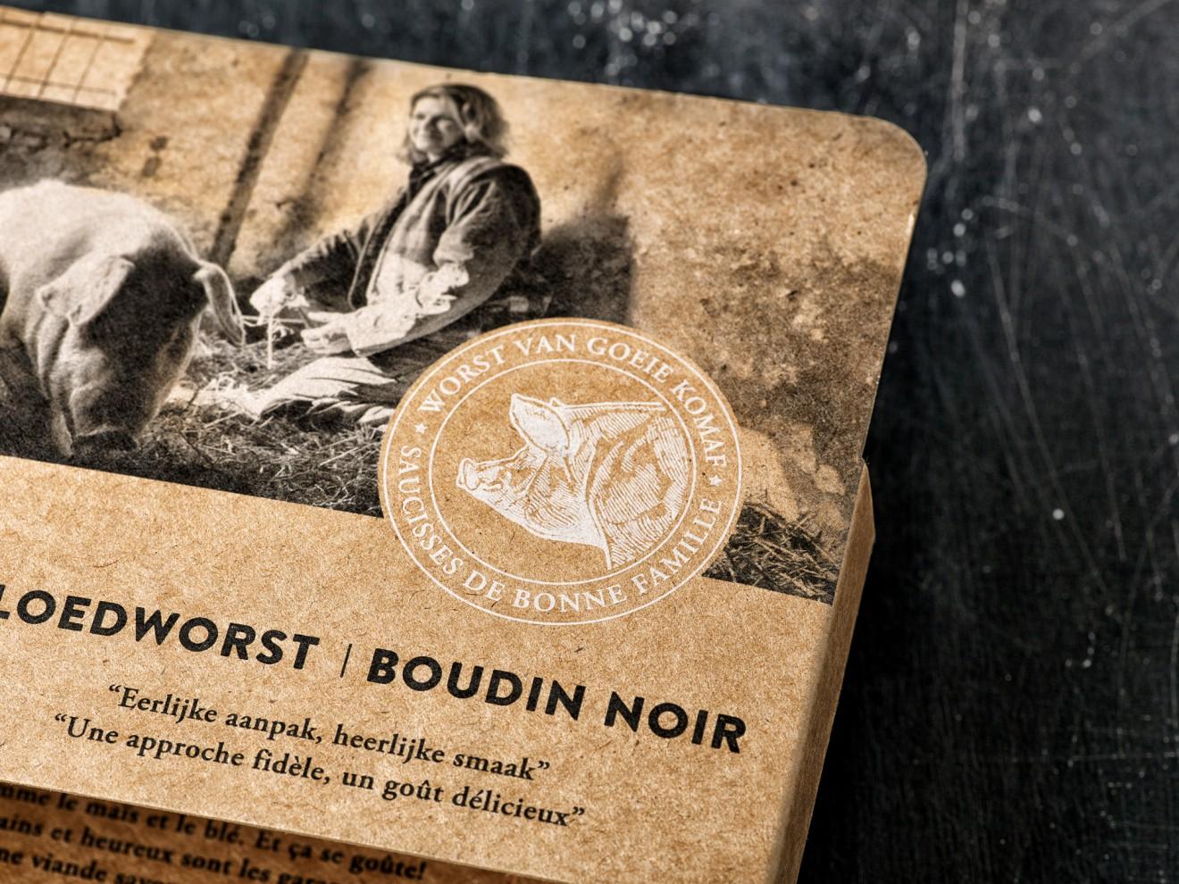 Quatre Mains package design - noyen, meat, craft paper look