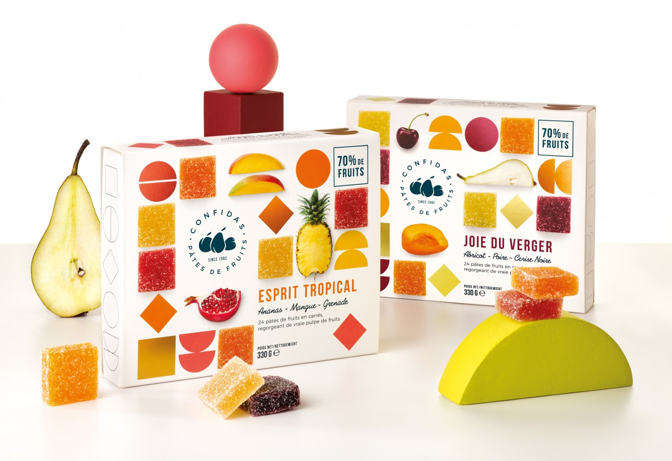 Quatre Mains package design - orb, pear, fruit jelly