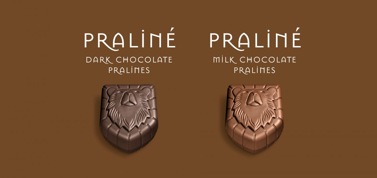 Quatre Mains package design - oxygenium, pralines, chocolates