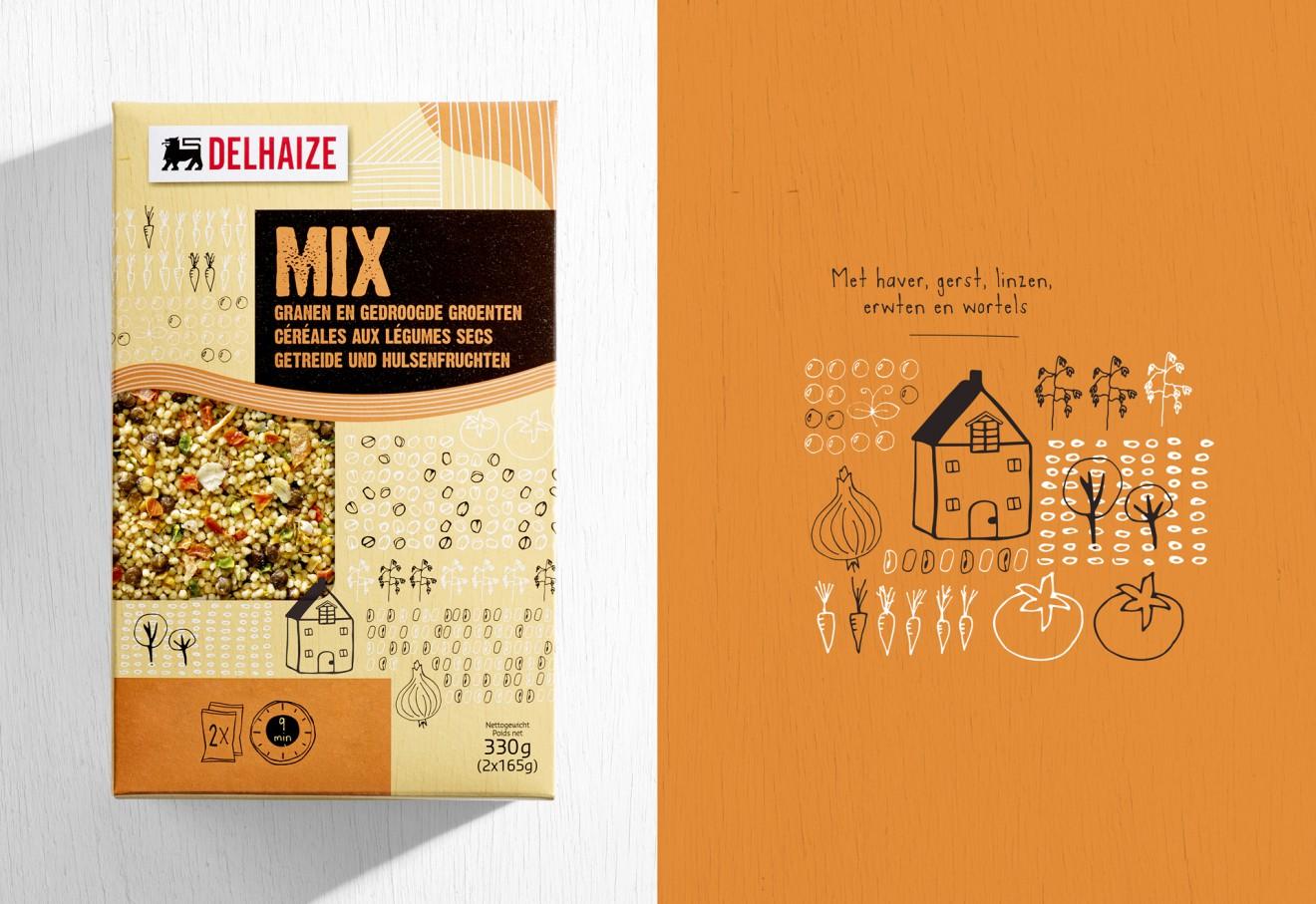 Quatre Mains package design - mix, gedroogde, groenten, haver, gerst, linzen