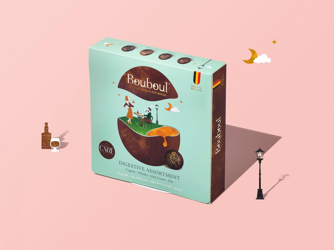 Quatre Mains package design - digestive, irish cream, cognac