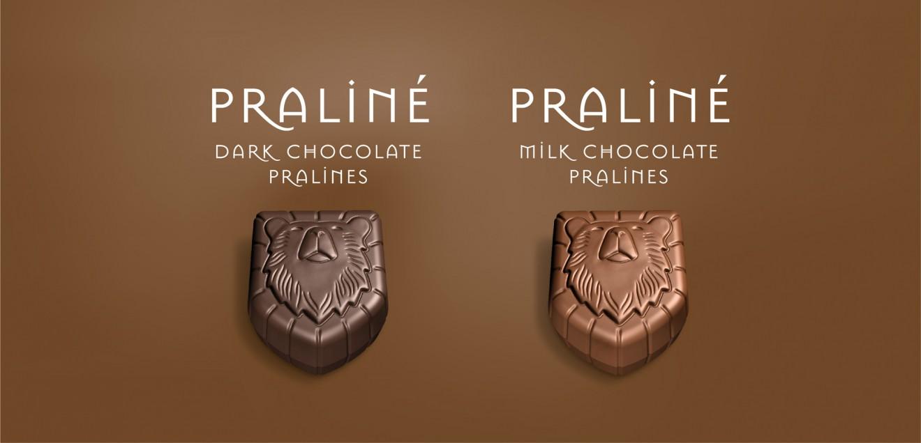 Quatre Mains package design - oxygenium, pralines, chocolates