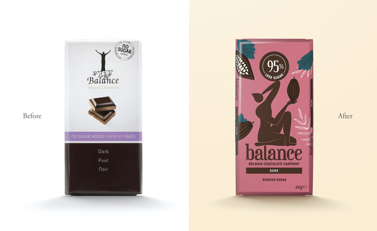 Quatre Mains package design - before after