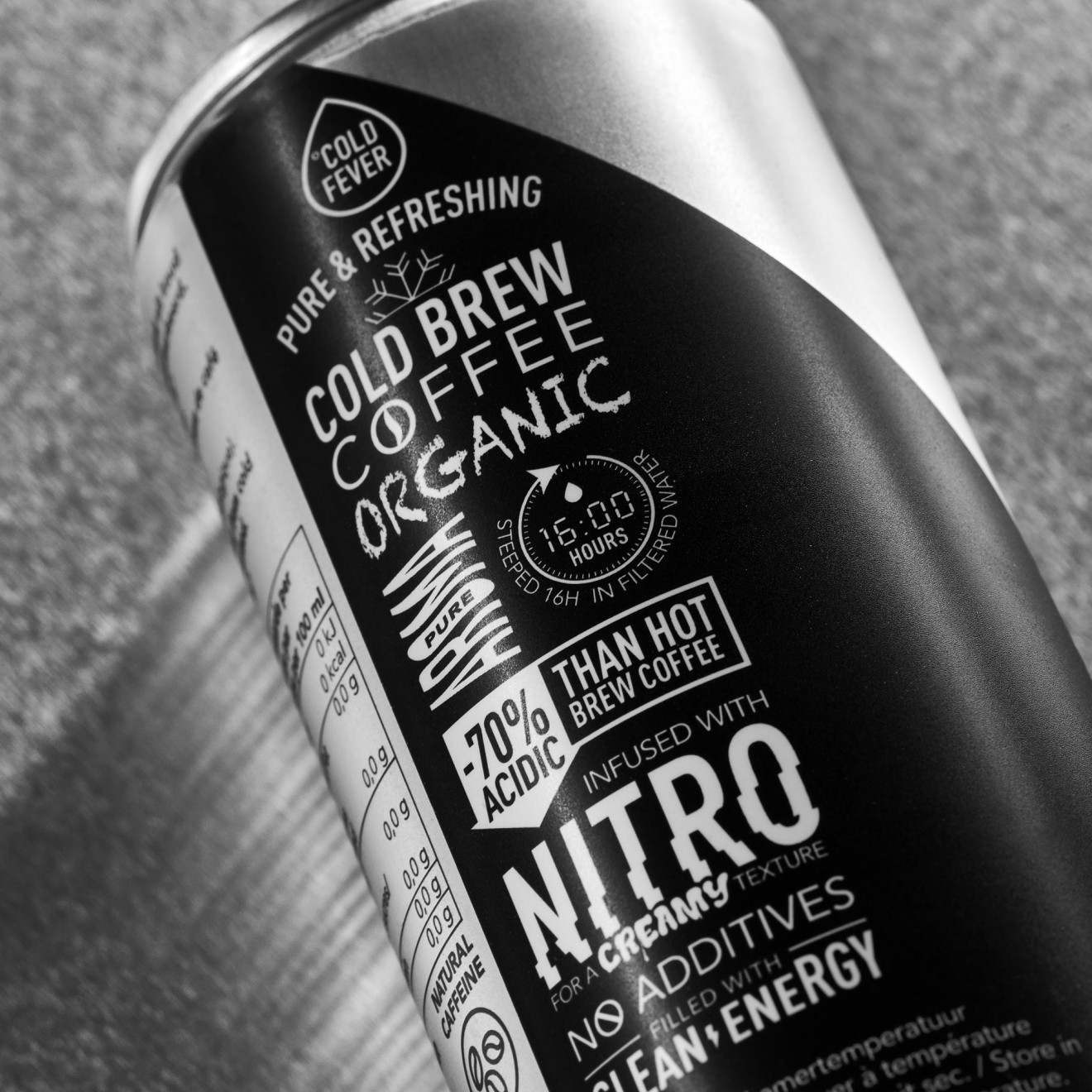 Quatre Mains package design - nitro, brewed, can, coffee