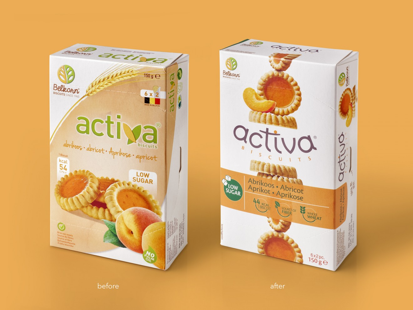 Quatre Mains package design - before after, apricot