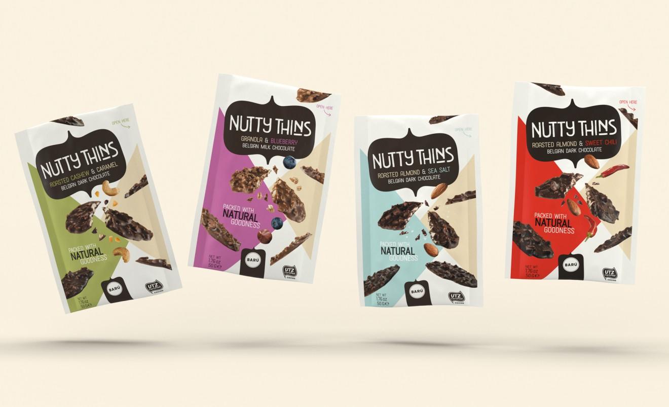 Quatre Mains package design - nutty thins, crispy, baru, belgisch