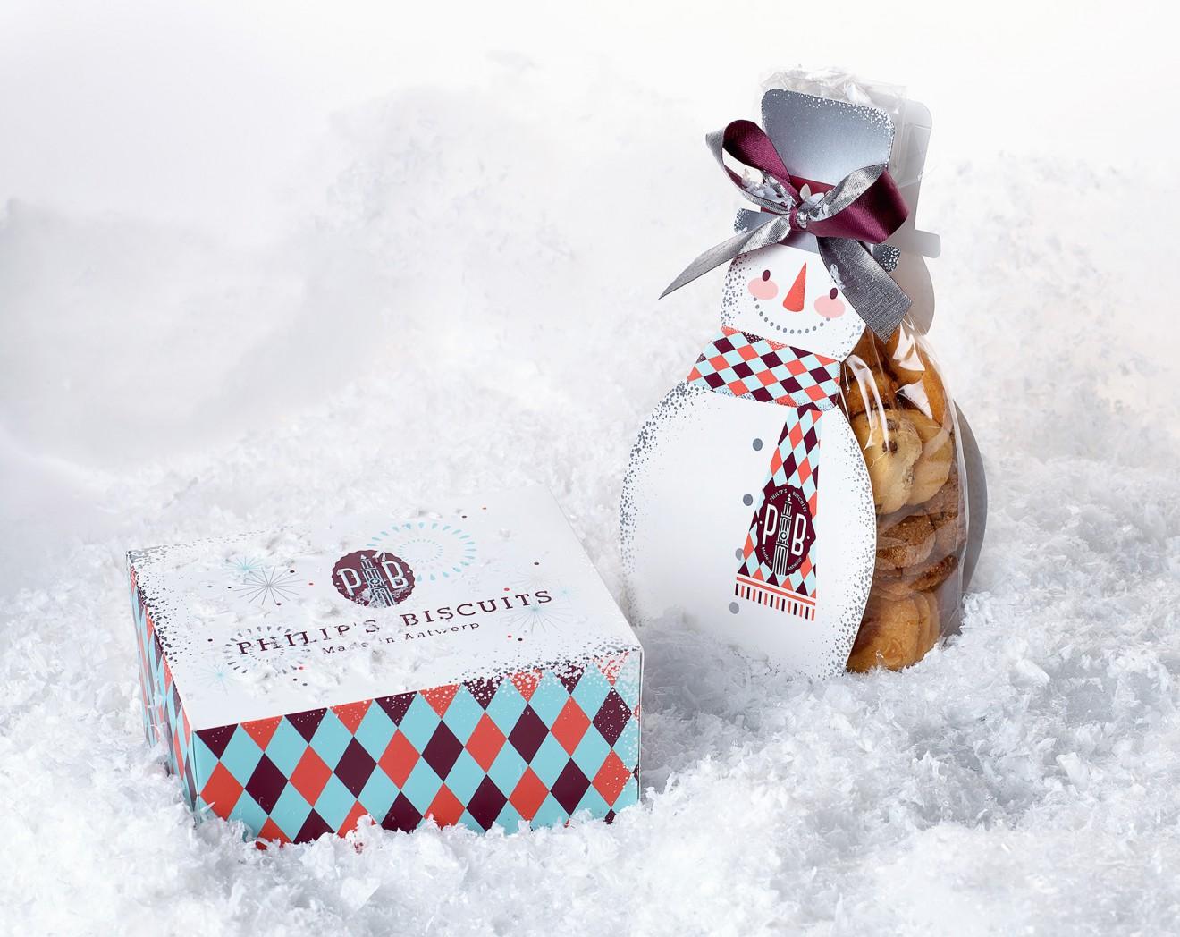 Quatre Mains package design - biscuits, antwerp, snowman, quatre mains