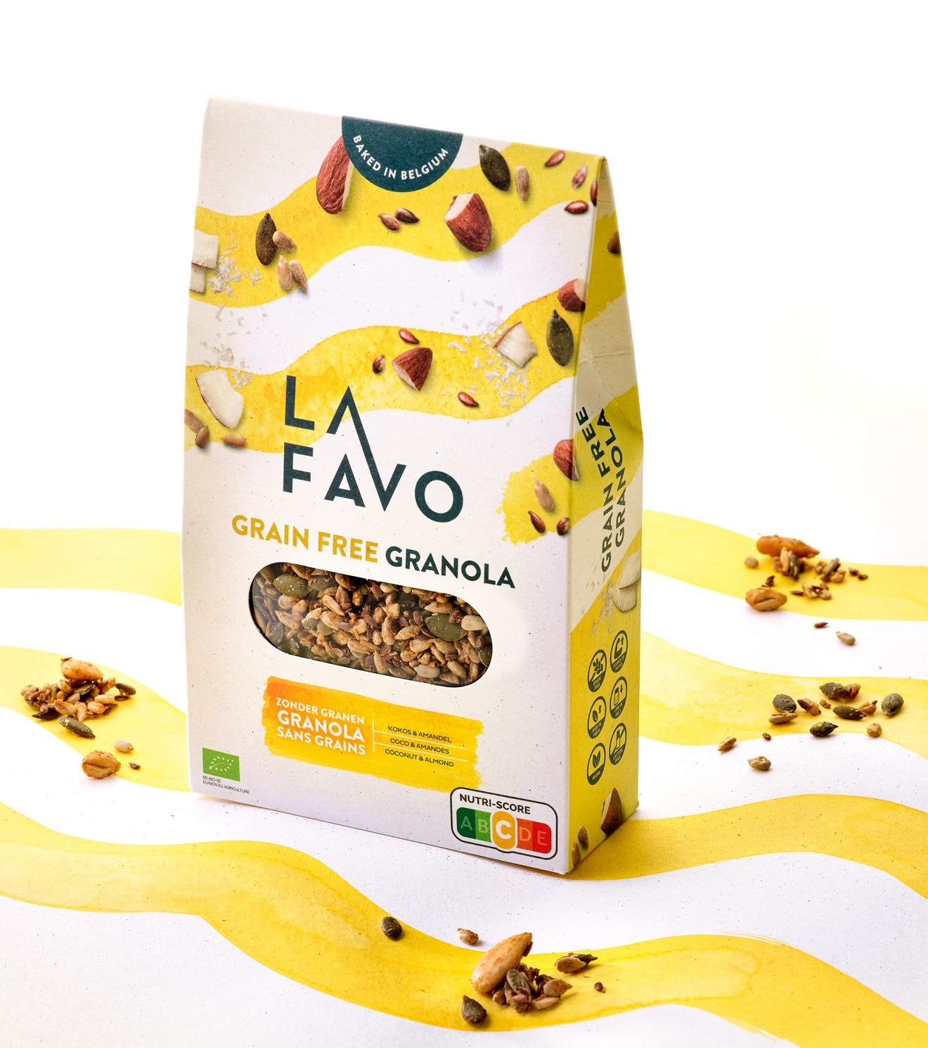 Quatre Mains package design - packaging, watercolour, grains, pits