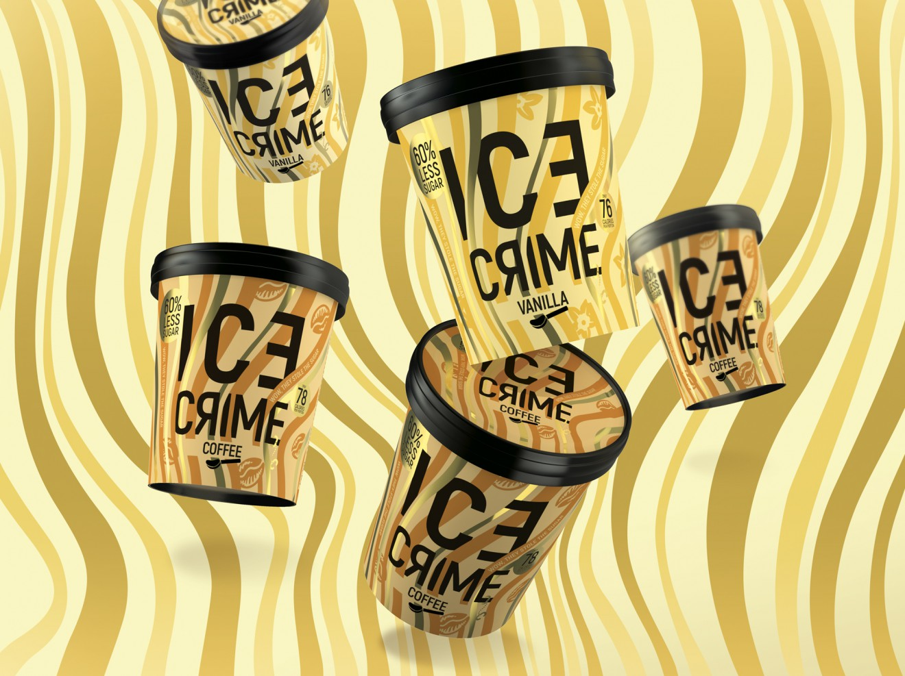 Quatre Mains package design - vanilla, almond, ice crime, packaging