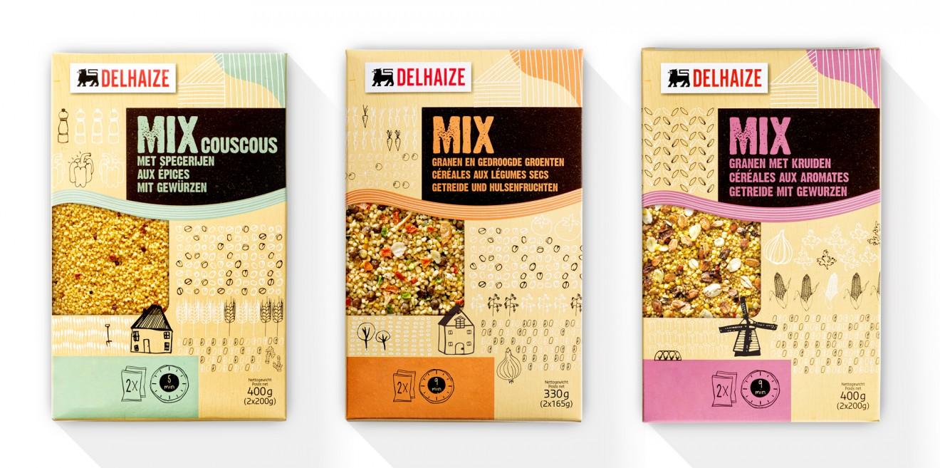 Quatre Mains package design - line up, granen, packaging, peulvruchten