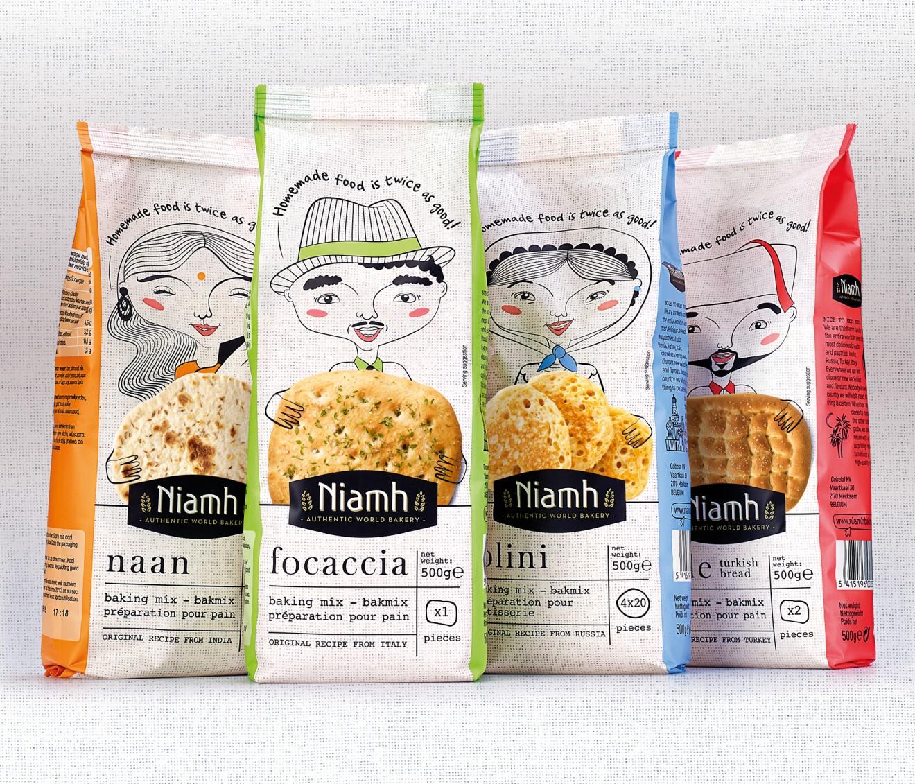 Quatre Mains package design - zakjes, packaging, quatre mains, brood