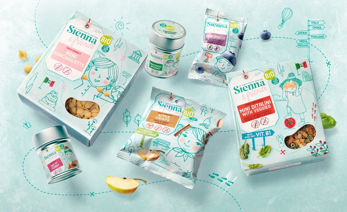 Quatre Mains package design - raw, snacks, boat, illustration, drawing