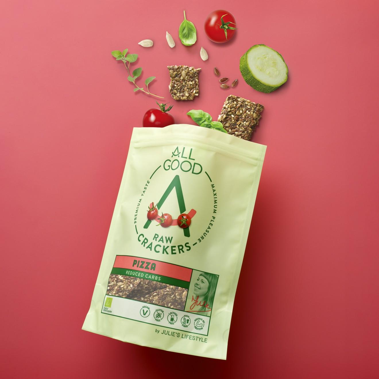 Quatre Mains package design - courgette, zucchini, tomato, basil, oregano