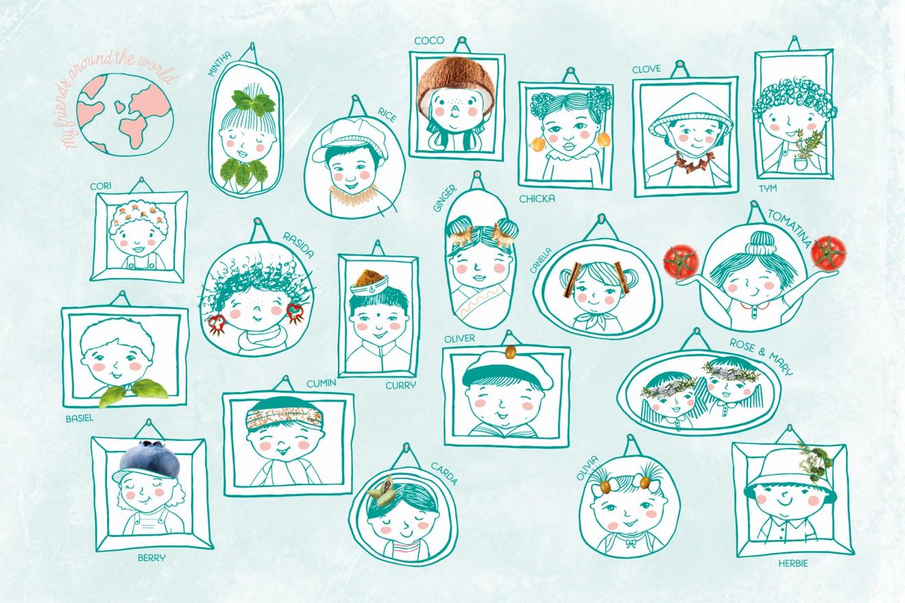Quatre Mains package design - branding, children, foodie, cinnamom, portrait