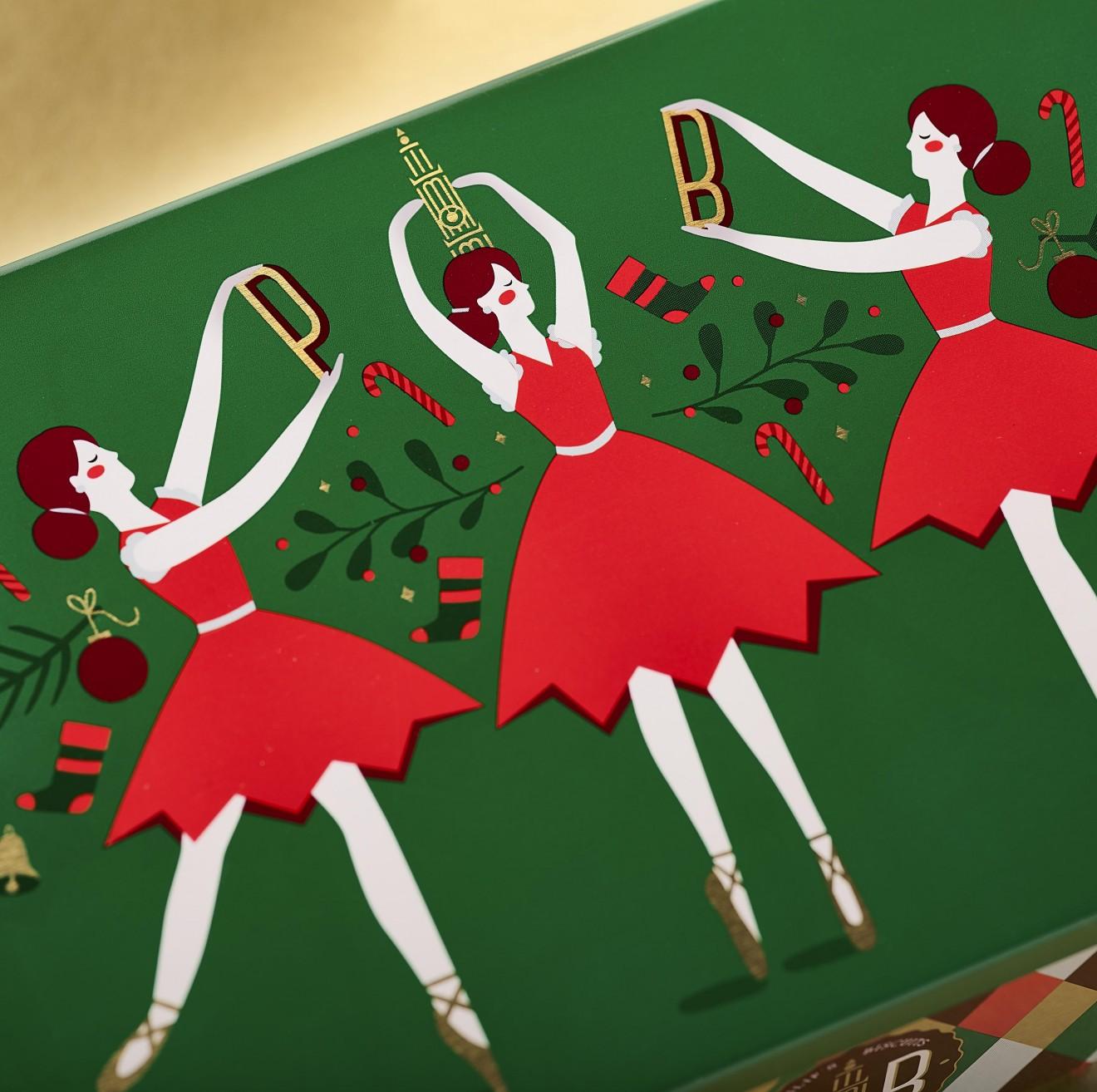 Quatre Mains package design - ballerina, tin, pb, antwerp