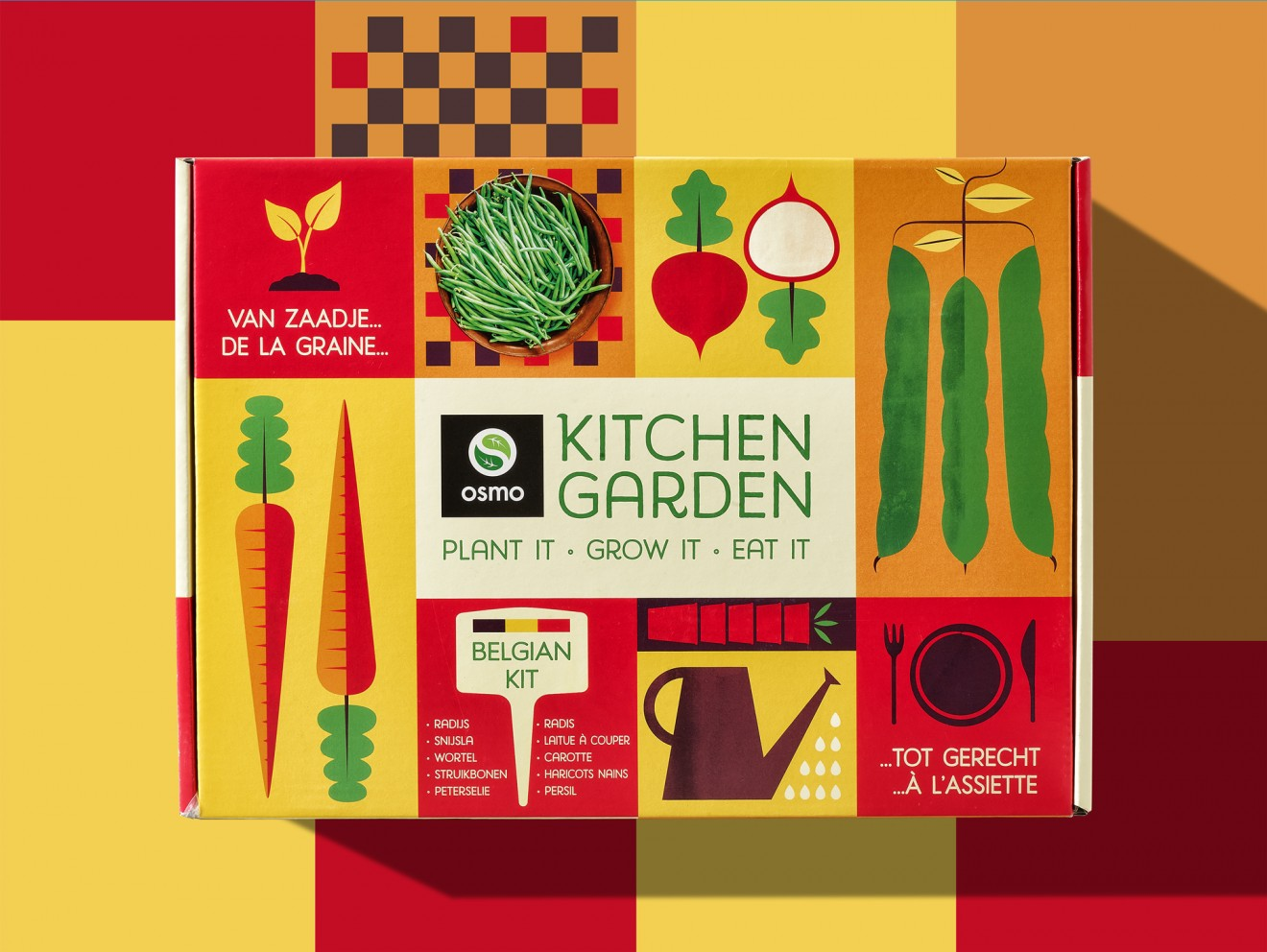 Quatre Mains package design - graphic design, watering can, carrot