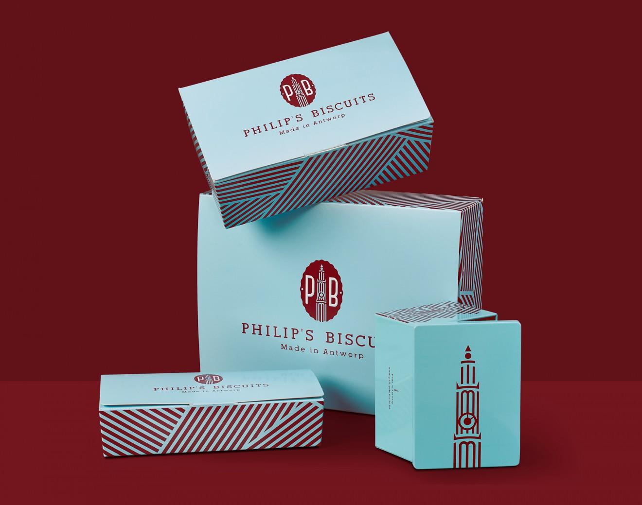 Quatre Mains package design - blauw, bordeaux, blikken ballotins, philips biscuits