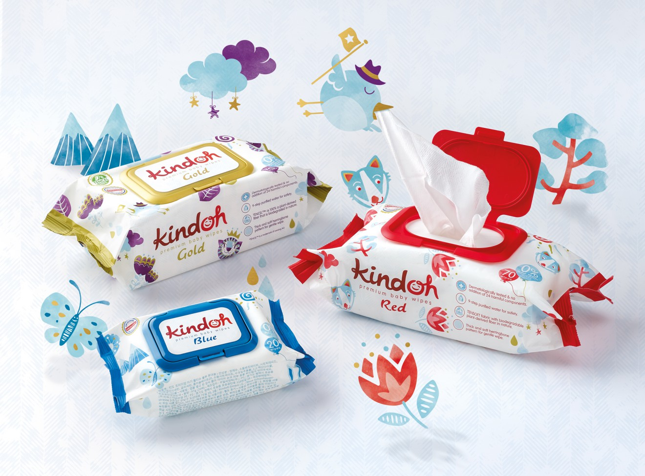 Quatre Mains package design - baby wipes, products, south korea, packaging