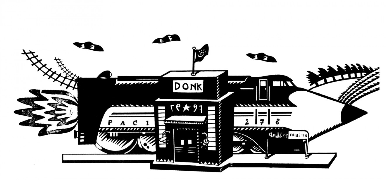 Quatre Mains package design - station, donk, illustratie, Train, Creativity