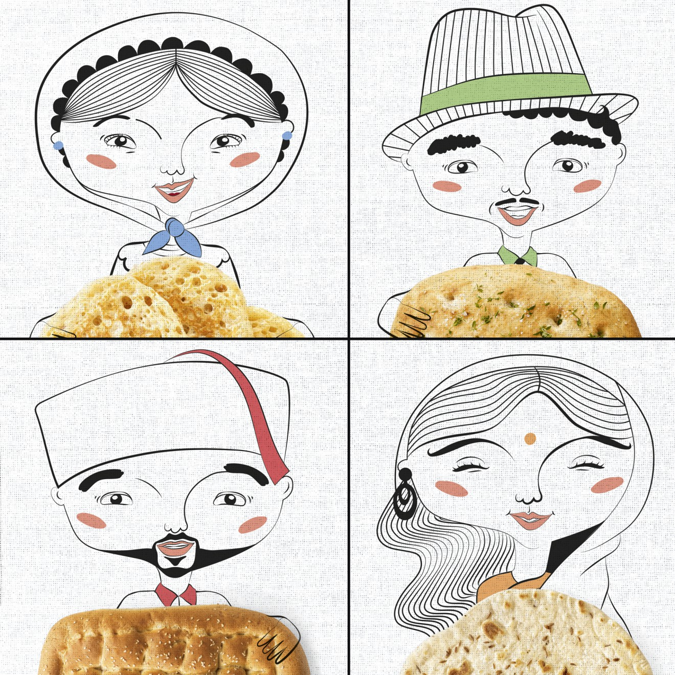 Quatre Mains package design - illustratries, etnisch, kleurrijk