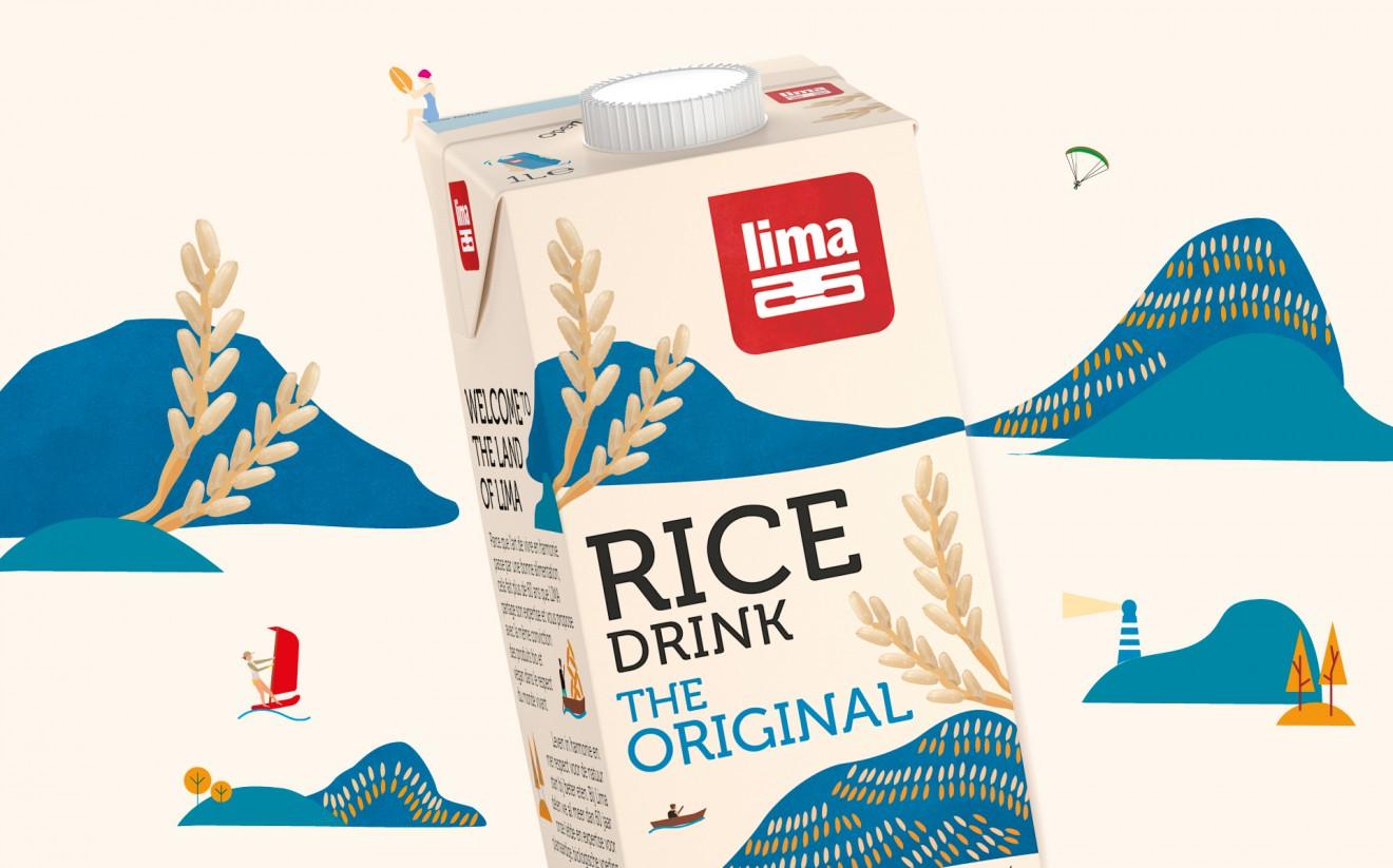 Quatre Mains package design - rice drink, rice milk, calcium, packaging