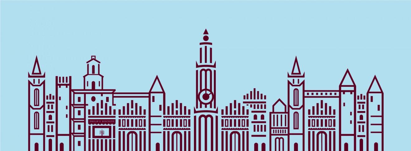 Quatre Mains package design - huisjes, antwerpen skyline, philips biscuits