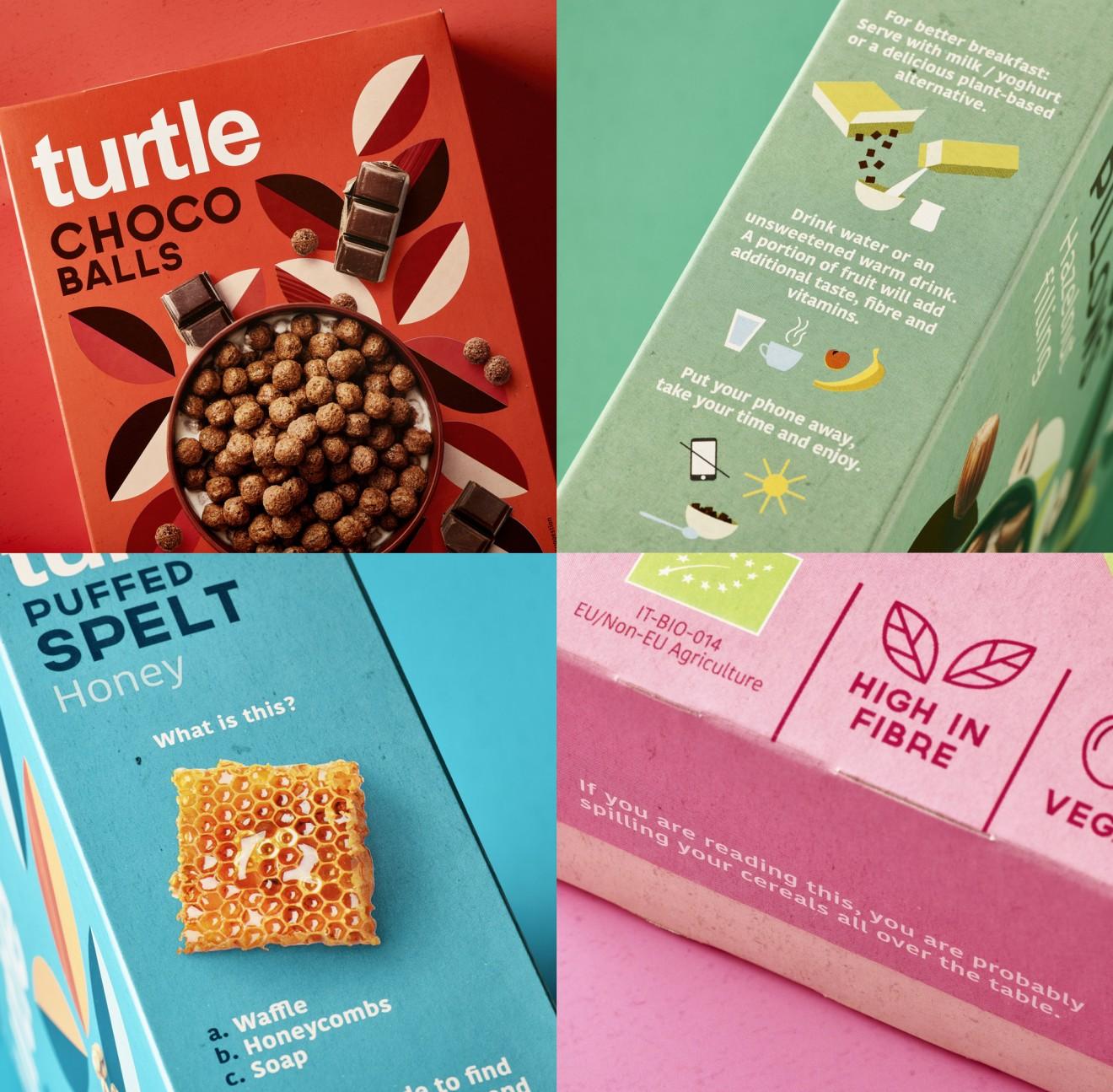Quatre Mains package design - healthy, cereals, retro, vintage, pattern, decorative, quatre mains, turtl