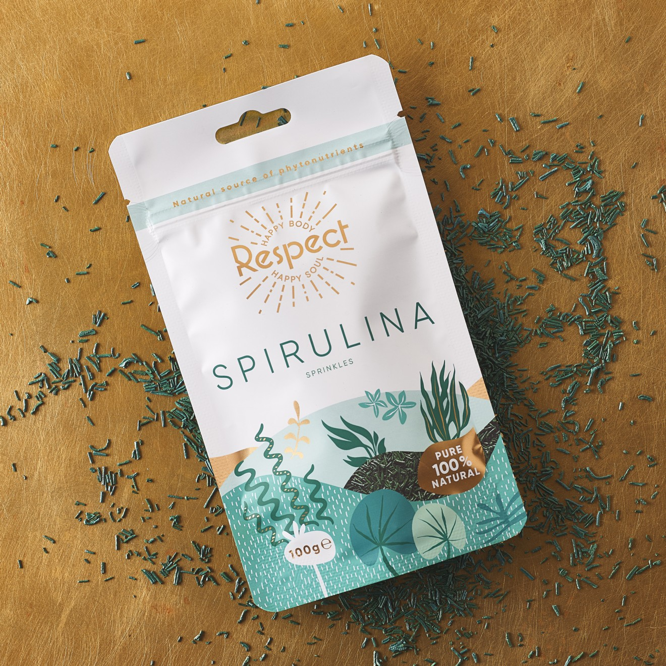 Quatre Mains package design - design, copper, spirulina