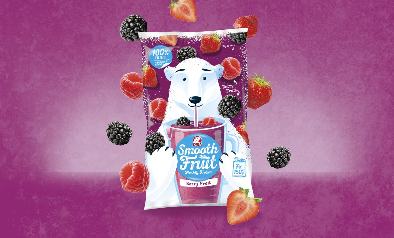 Quatre Mains package design - smoothie, berry, healthy
