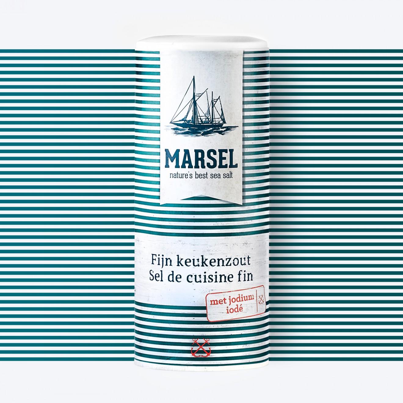 Quatre Mains package design - stripes, banner, salt