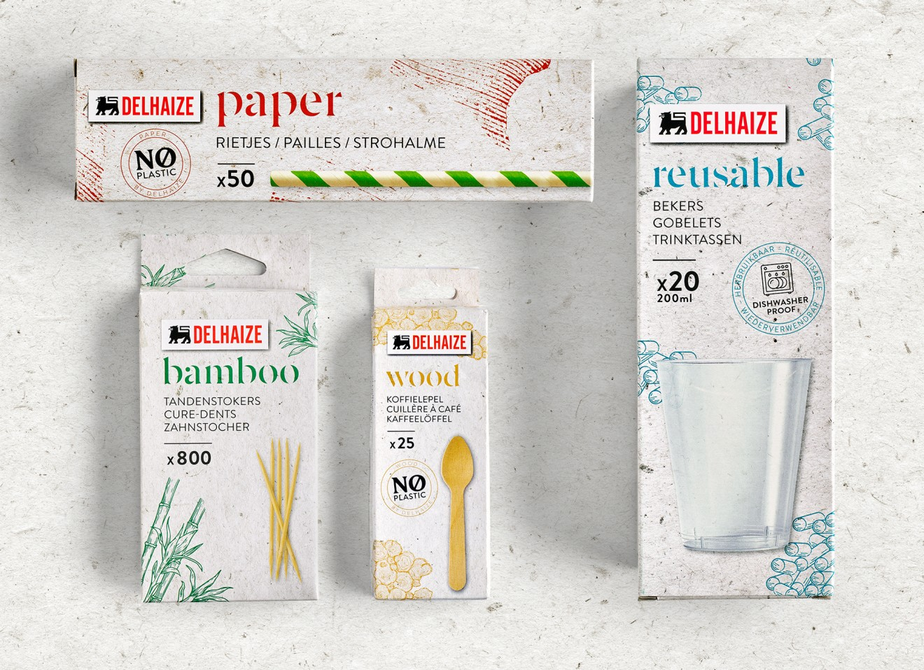 Quatre Mains package design - reusables, straw, toothpick, cups