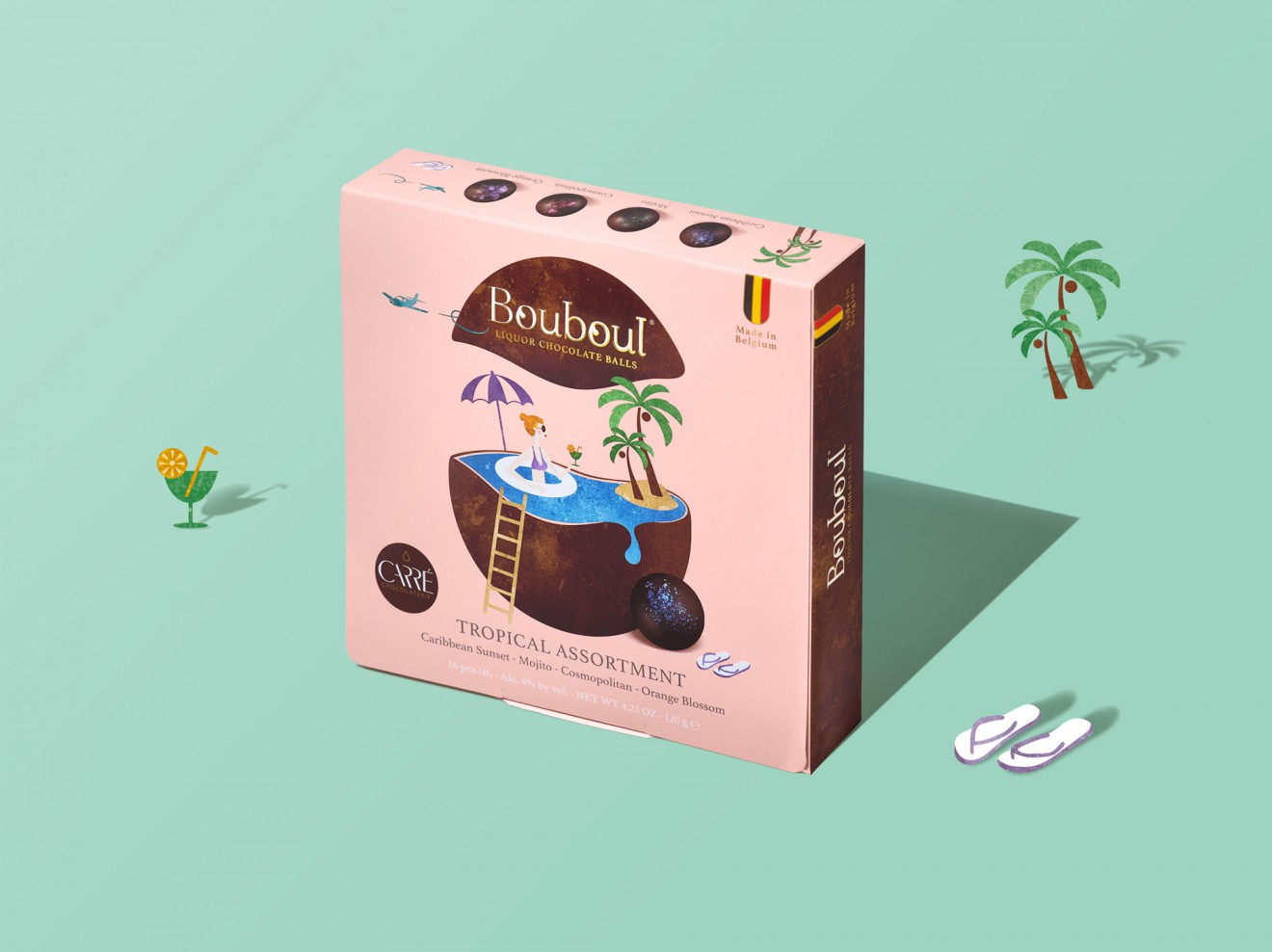 Quatre Mains package design - quatre mains, tropical assortment, cocktails