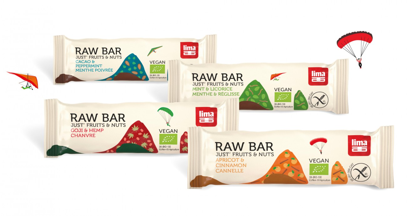 Quatre Mains package design - raw bars, biscuits, lima, packaging