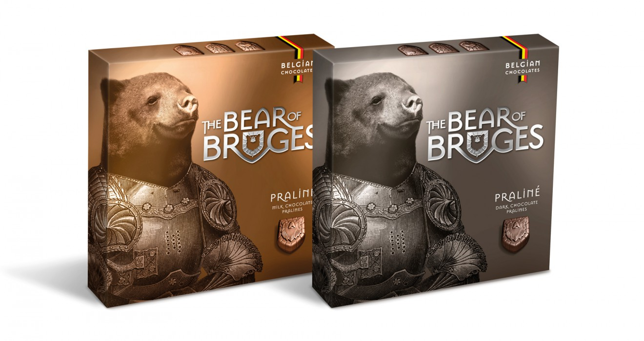 Quatre Mains package design - branding, packaging, bear, bruges