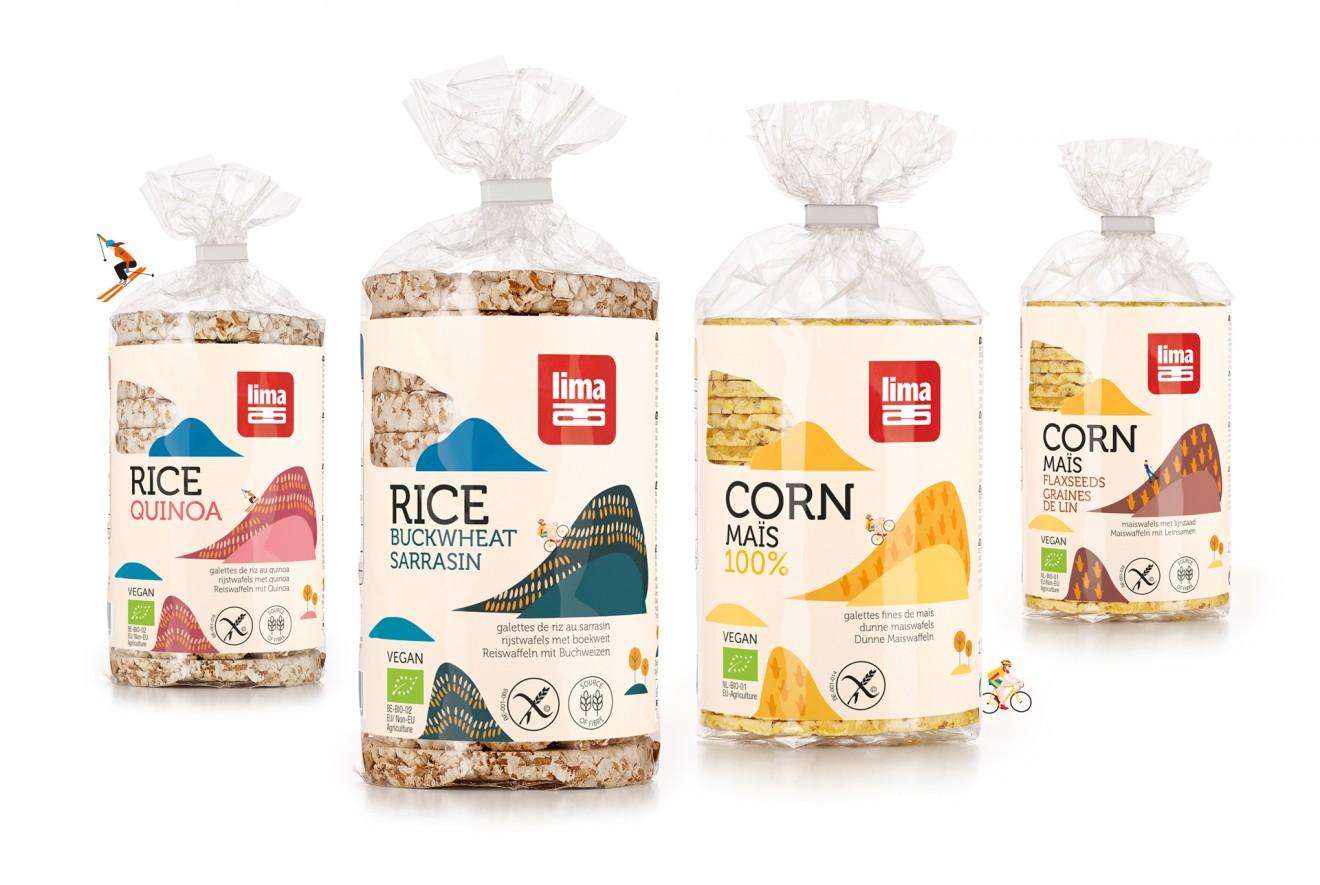 Quatre Mains package design - rice cakes, waffles, corn, lima, quatre mains