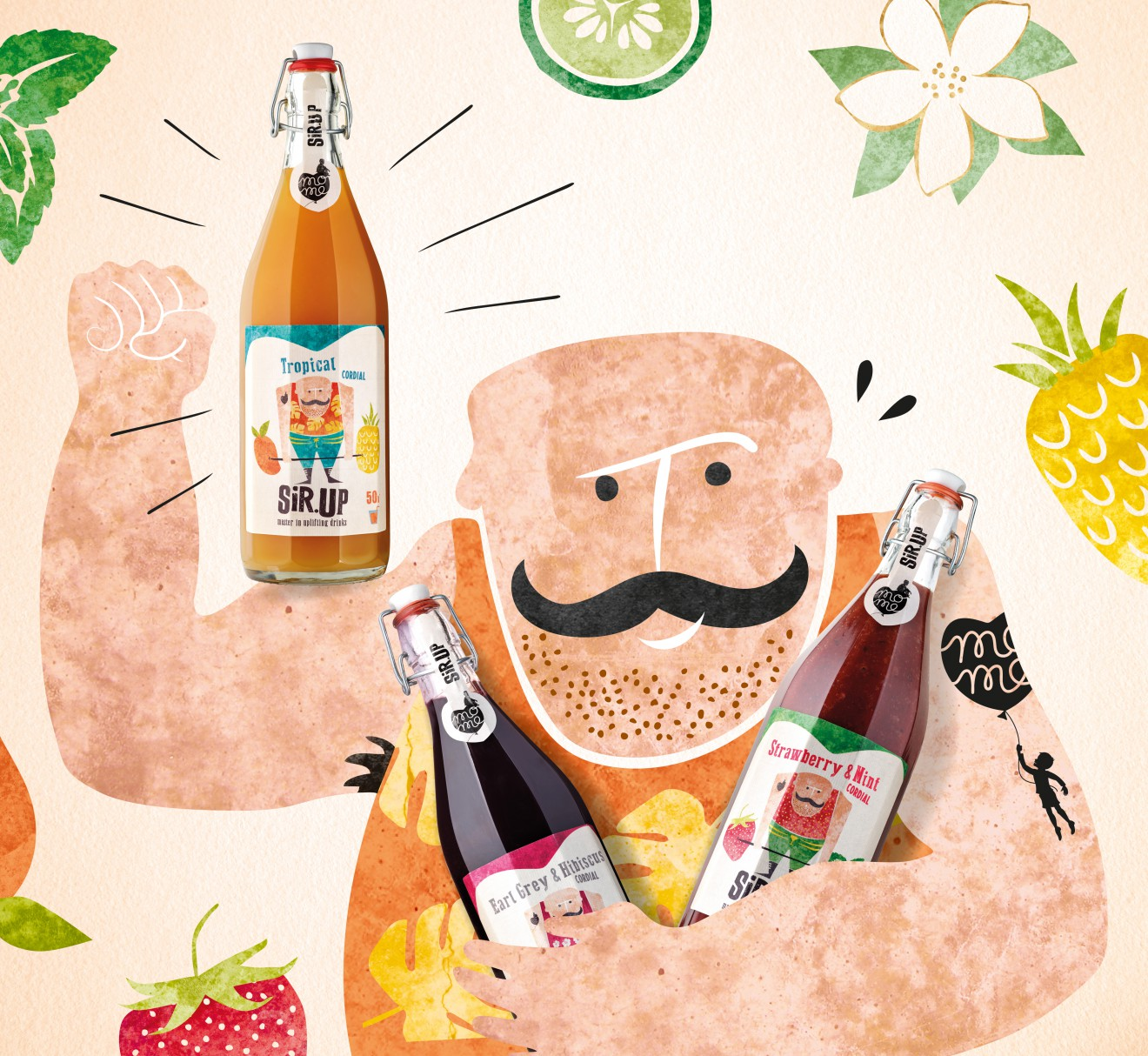 Quatre Mains package design - strong man, cucumber, pineapple, mint, strawberry