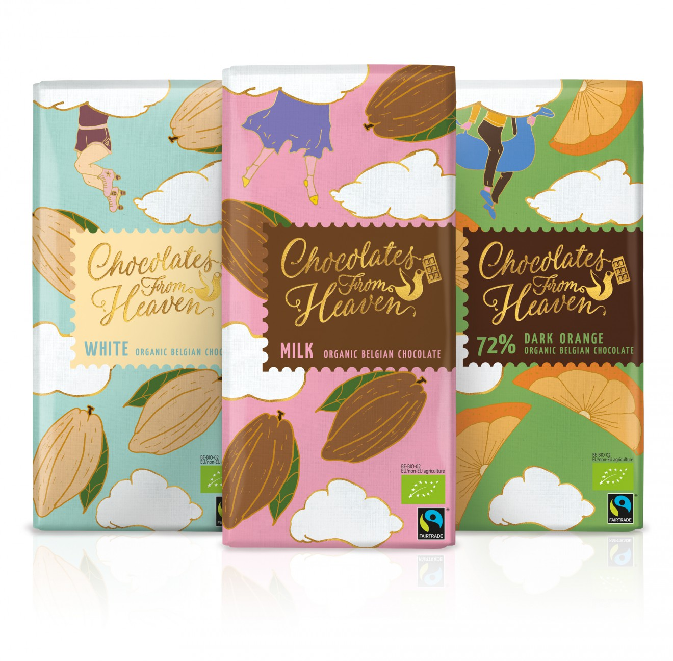 Quatre Mains package design - organic, chocolate, redesign